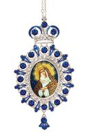 "Virgin Mary ""Ostrobramska"", Jeweled  Icon Ornament with Chain"