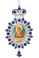Virgin Mary of Pochaev (Pochaevskaya),  Jeweled  Icon Ornament with Chain