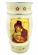 Greek Ceramic Flower Icon Vase Christ & Virgin Mary