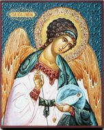 Guardian Angel, Embossed Printing on Thick Wood Orthodox  Icon
