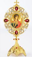 Guardian Angel Icon in Pearl Jeweled Shrine - Monstrance Style