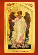 Guardian Angel, Orthodox Christian Panel Icon, Hand Painted