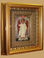 Guardian Angel, Orthodox Icon with Crystals in Gilded Kiot