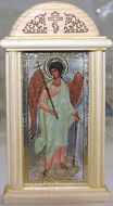 Guardian Angel  Oklad Orthodox Christian  Icon in Wood Shrine