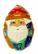 Hand Carved Hand Painted Wooden Santa Ornament