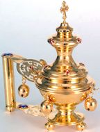 Hand Censer, Enameled with Bells, Gold Plated