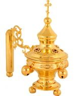 Hand Censer W/Bells/Red Stones, Gold Plated