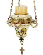 Hanging Icon Lamp with Icons,  24KT Gold Decorated, Cream
