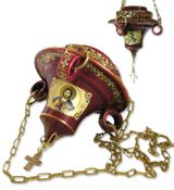 Hanging Icon Lamp with Icons,  24KT Gold Decorated, Maroon