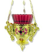 Hanging Lamp Decorated With Enameling & Red Stones