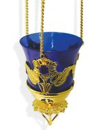 Hanging Lamp Gold Plated with 3 Blue Stones