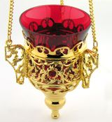 Hanging Oil Lamp with Chain, Heavy Gold Plated