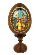Holy Family,   Icon Wooden Egg with  Stand