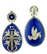 "Reversible Egg Pendant ""Holy Spirit/Cross"", Silver 925, Blue"