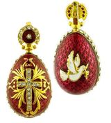 "Reversible Egg Pendant ""Holy Spirit/Cross"", Silver / Gold Plated, Red"