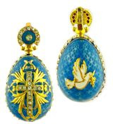 "Reversible Egg Pendant ""Holy Spirit/Cross"", Silver / Gold Plated, Turquoise"