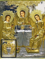 The Holy Trinity, Hand Painted, Gold Riza Icon in Wood Kiot with Glass