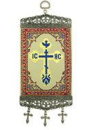 """IC XC Cross,  Tapestry Banner, ~10"""" H, Red"""