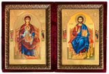 Jesus Christ and Virgin Mary Enthroned,  Icon Diptych in Velvet Case