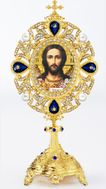 Jesus Christ, Icon in Pearl Jeweled Shrine - Monstrance Style