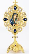 Virgin Mary Eternal Bloom, Icon in Pearl Jeweled Shrine - Monstrance Style
