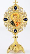 Virgin Mary Czestochova Icon in Pearl Jeweled Shrine - Monstrance Style