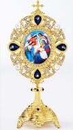 Nativity of Christ, Icon in Pearl Jeweled Shrine - Monstrance Style