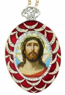 Image of Christ, Egg Shaped Ornament Icon, Red