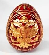 Imperial Crystal Egg with Double Headed Eagle, Red