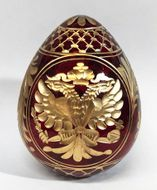 Imperial Crystal Egg with Double Headed Eagle, Burgundy