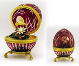 IMPERIAL Faberge Style Red  Crystal Egg With Surprise