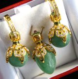 Jade Stone (Nefrit) Set of Earrings with Egg Pendant,  Silver, Gold Plated