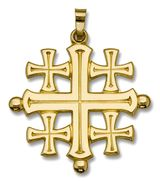 Jerusalem Cross, 14 KT Gold, 1""