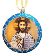 Christ The Teacher, Round Christmas Ornament, Blue