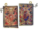 Jesus Christ / Virgin Mary The Tree of Life Vine Tapestry Rosary Icon Pouch