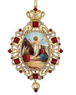Jesus Christ, Panagia Style Icon Ornament / Red Crystals
