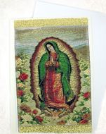 Lady of Guadalupe, Tapestry Icon Greeting Card with Envelope