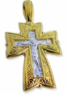 Large  Engraved Orthodox Cross, Sterling Silver, Gold Plated
