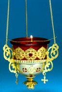 Large Hanging Lamp With Angel, Crosses & Stones