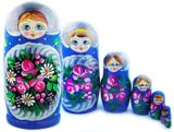 "Large Matreshka 7 Nesting Doll, Hand Painted, ""Floral"" Design, Blue"