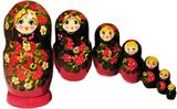 "Large Matreshka 7 Nested Doll, Hand Painted, ""Strawberries"" Design"