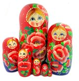 Large Matreshka 7 Nested Doll, Poppy Flowers, Cute Faces, 8""