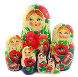 Large Matreshka 7 Nesting Doll, Poppy Flowers, Cute Faces, 8""