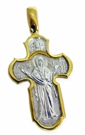 "Large Reversible Orthodox Cross ""Protection of The Mother of God""  Sterling Silver, Gold Plated"