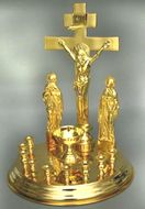 Litya Tray and Cross Set, Engraved, Gold Plated.