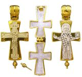 Crucifixion / St. Nicholas, Sterling Silver, Gold Plated Reversible Locket