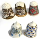 Lomonosov Porcelain Thimbles, Set of 5 Pcs