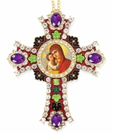 Madonna and Child, Icon in  Jeweled Wall Cross