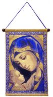 Madonna and Child In Blue, Hanging Tapestry Icon Banner