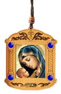Madonna and Child, Wooden Icon Shrine Pendant on Rope